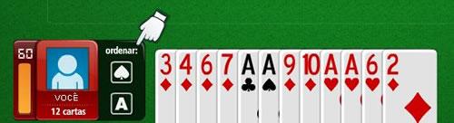Botões para organizar cartas