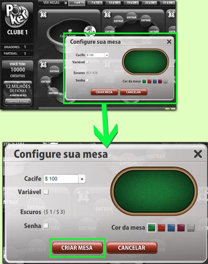 Configurar uma mesa no Poker